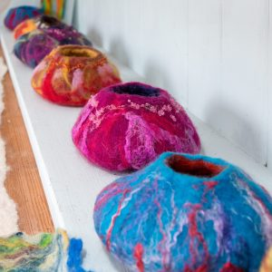 Colourful felt bowls made at feltworld.co.uk