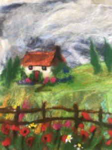 Felt picture of a cottage