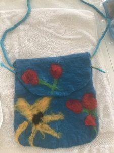 Handbag made of Merino wool