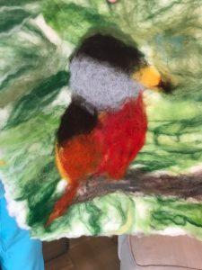 Small felt bird detail